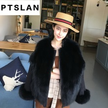 Ptslan  2017 New Fashion Women Luxurious Large Coat Warm Fox Fur Liner Parkas Winter Jacket Top Quality Double-sided Wear
