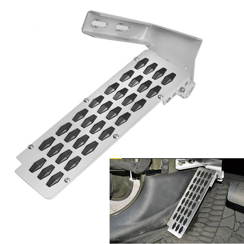 For Jeep Wrangler JK 2/4-Door Adjustable Left Foot Rest Pedal Brake Pedal Clutch Gas Pedal Pad Anti Slip Metal Car Styling travel dedicated lazy people pedal foot rest for airplane high speed railway