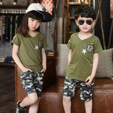 Мальчики и Grils детские Летние Костюмы Корейский Класс Обслуживания Камуфляж Две Пьесы Детская Одежда Наборы Синий