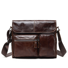 New Wax Leather Series Messenger Bag For Men Bag Genuine Leather Shoulder Bags Cross Body Bags Vintage Satchel