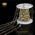 6 мм Граненый Монеты, Бусины 5 Метр DIY Позолоченные Проволокой Завернутые Бисером Цепочки Розария Цепи Граненый Хрустальные Бусины для ожерелье LS066