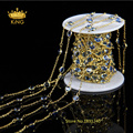 6mm Faceted Coin Beads 5Meter DIY Gold Plated Wire Wrapped Beaded Chain Rosary Chain Faceted Crystal Beads for Necklace LS066