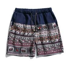 Одежды стиля Востока для мужчин винтажные цветочные печати летние мужские короткие штаны хлопок мужские льняные брюки для путешествий пляжные трусы-боксеры с морской тематикой TA132