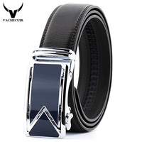 New Second Layer Genuine Leather Men Belts Classic Black Automatic Buckle Cowhide Luxury Designer Business Belt