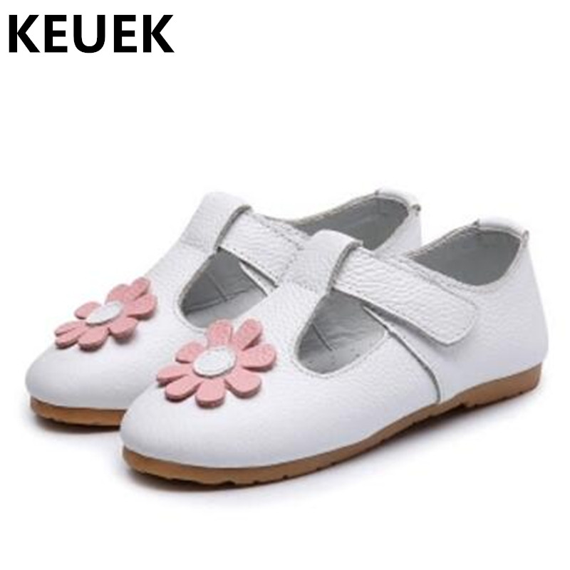New Spring/Autumn Genuine Leather Girls Single Shoes Children Flat Heels Anti-Slippery Baby Toddler Leather Shoes Kids 04