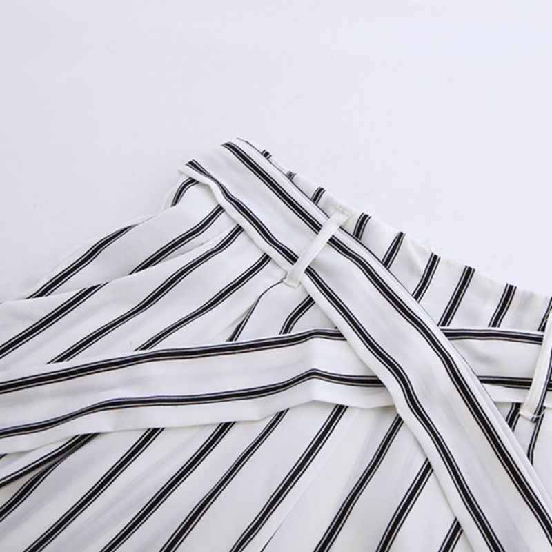 Jyss 새로운 핫 패션 여름 가을 여성 바지 가벼운 탄성 허리 스트라이프 긴 바지 넓은 다리 바지 80668