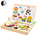 3+ age Wooden Magnetic Puzzle Kids Toys Happy Farm Double Drawing Learning Educational Toys Painting Board For Children Gift