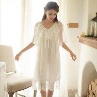 2018 Summer new palace lace Princess home service nightdress female sweet cute ruffled short sleeved ladies sleepwear L683