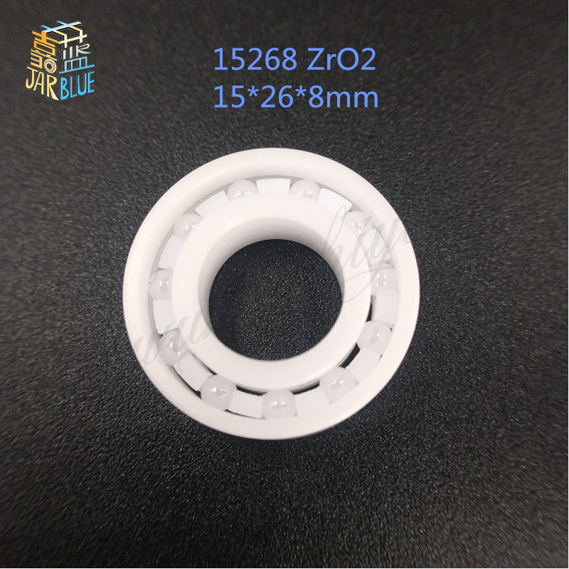 Free Shipping 15268 Ceramic wheel hub bearing zro2 15268 15*26*8mm full zro2 ceramic bearing 15267 2rs 15 26 7mm 15267rs si3n4 hybrid ceramic wheel hub bearing