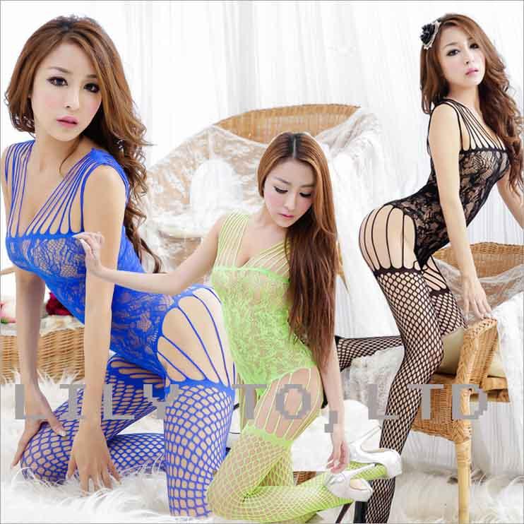 erotic lingerie hot sexy pajamas women open bra crotch stocking bodystockings net big hole sleepwear dress