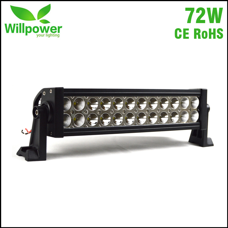 72W 13.8 inch 6500LM combo Beam heavy duty off road car LED Work Light Bar 12v