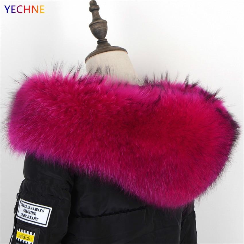 Natural Fur Collar For Park Raccoon Fur Women Scarves Winter Coat Female Neck Cap Long Warm Genuine Fur Scarf Big Size75*17*21cm