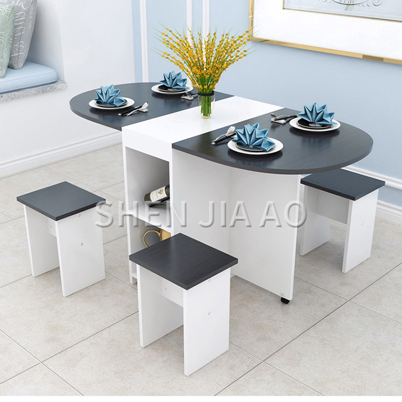 Folding Dining Table Home Modern Minimalist 4 People Small Apartment Eating Table Multi-function Round Table 1PC