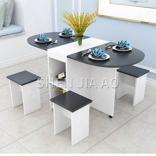 US $93.6 20% OFF Folding Dining Table Home Modern Minimalist 4 people Small  Apartment Eating Table Multi function Round Table 1PC-in Dining Tables ...