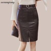 Autumn Skirts 2017 PU Leather Sexy Split Pocket High Waist Skirt Women Elegant Mini Pencil Skirt
