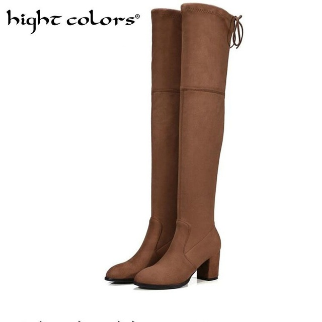 New Womens Micro Suede Thigh High Boots Block Thick Heel Stretch Over The Knee For Woman Plus Size Wine Beige