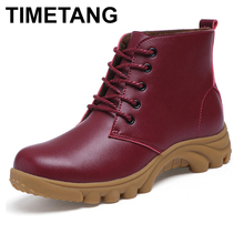 TIMETANG Boots women genuine leather fur plush womens leather boots ladies Motorcycle driver Shoes Female women mar ankle boots