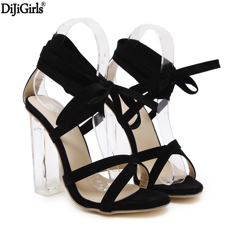 Women Transparent Heel Sexy Shoes Women Gladiator Sandals 2017 Ankle Strap High Heels Fashion Cross Strappy Peep Toe Shoes new arrival lace up women sexy peep toe sandals cross tied slingback gladiator heel shoes street style ankle boots women shoes