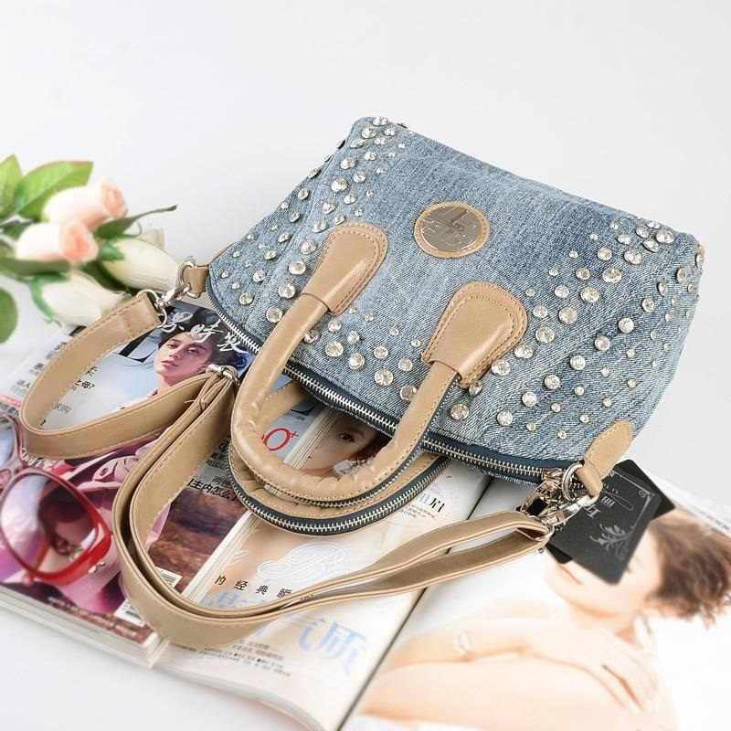 Novo Do Vintage Da Moda bolsa feminina Diamonds Beading Denim Jeans Mulheres Top Lidar Com Bolsas Noite Bolsas Totes Para Feminino