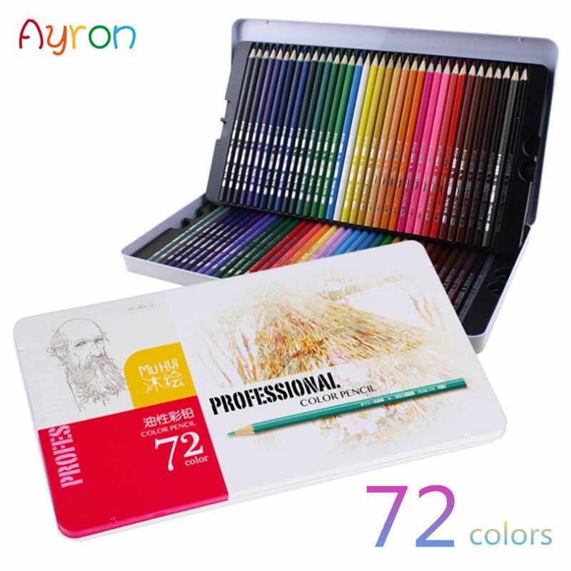 Ayron 36/48/72 สี Lapis De Cor Professional น้ำมันดินสอสีสำหรับวาดภาพวาด Sketch Tin กล่องอุปกรณ์ศิลปะโรงเรียน
