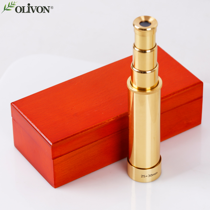 Free shipping Gift collection Canada OLIVON pirate 25X30 telescope banoculars Yellow with wooden Viewing the moon