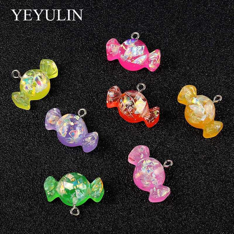 10pcs Mixed Color Resin Candy Charms Pendant For Woman Girls Necklace Bracelet DIY Jewelry Making