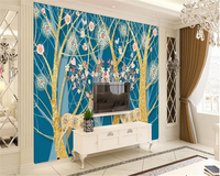 Beibehang 3d Papel De Parede Nordic American Style Forest Deer Mural Wall Decoration Wallpaper Wall Papers