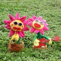 קישוטים קטנים חמוד פרח שמש משחק ריקוד שירה בעציץ בובות קטיפה חשמלית גיטרה מצחיק צעצועי ילדים
