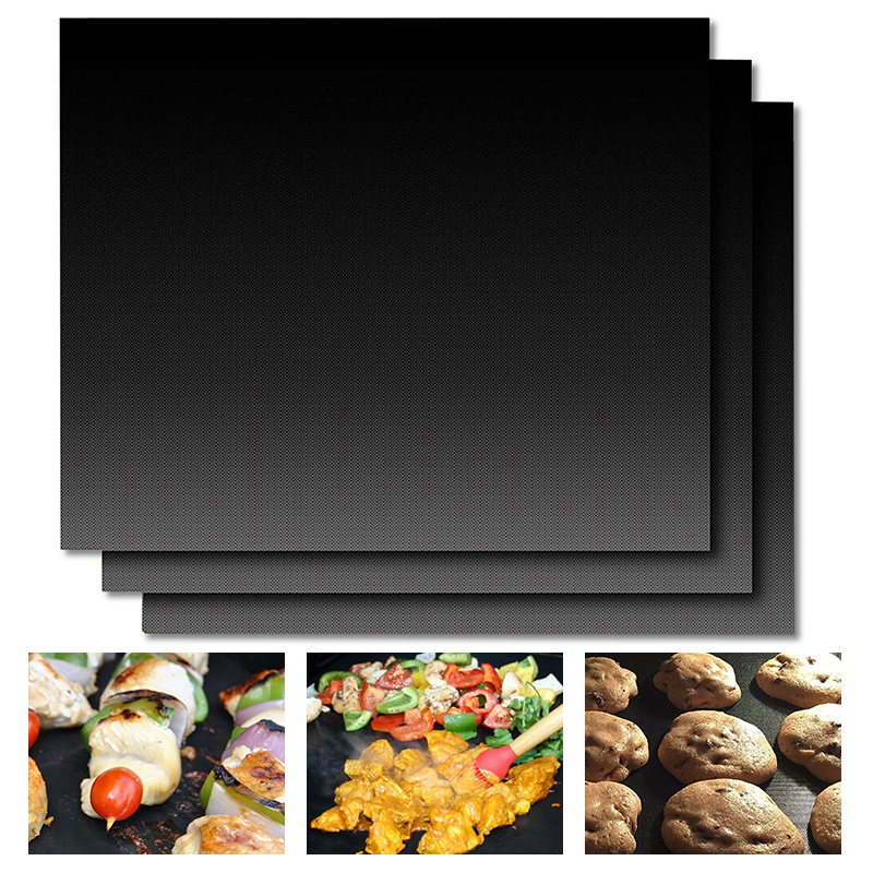 3pcs Barbecue Grill Mat Non stick BBQ Grill Mats Baking Liner0 2mm Thick Ptfe Cooking Microwave