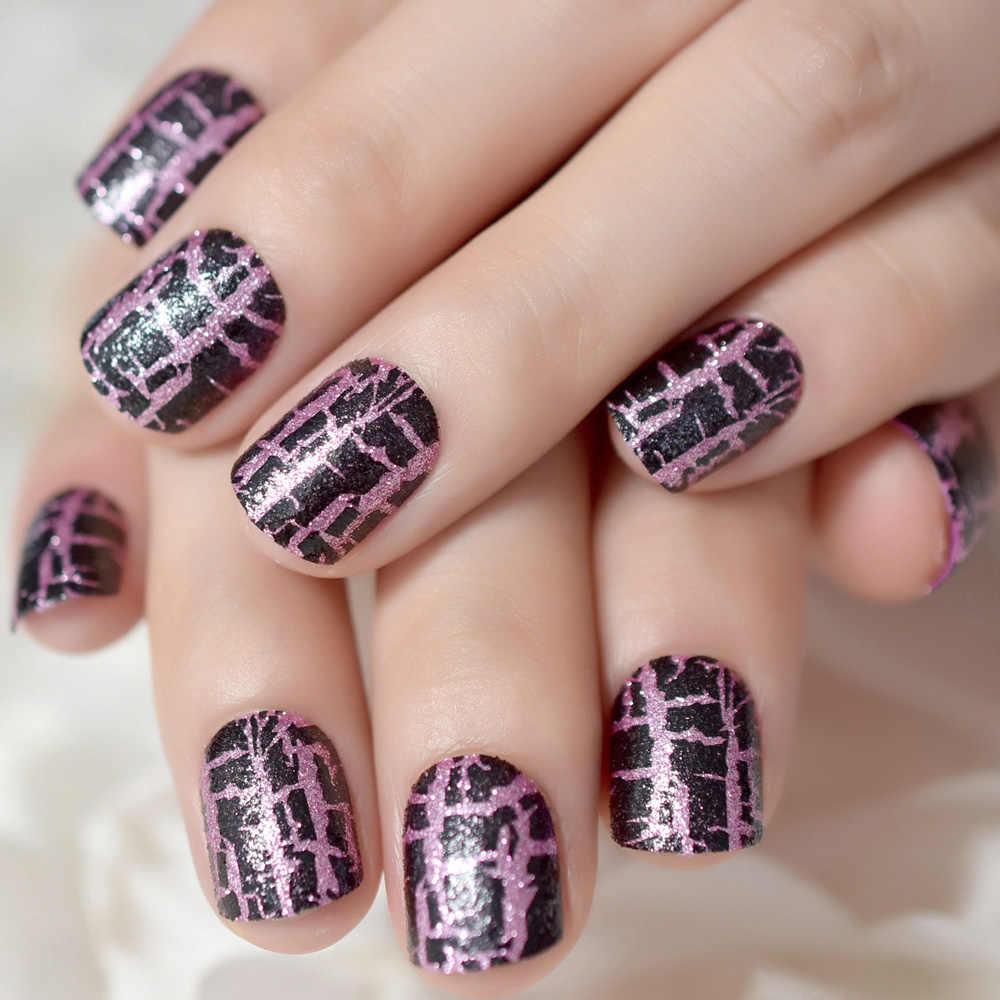 Púrpura Rosa Negro Leopardo Uñas Falsas Craze Grieta Patrón