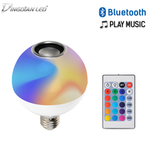 RGB+White LED Bluetooth Remote Control Color Changing Music Light Bulb  Sound Speaker Round 10W 110V-265V Wireless