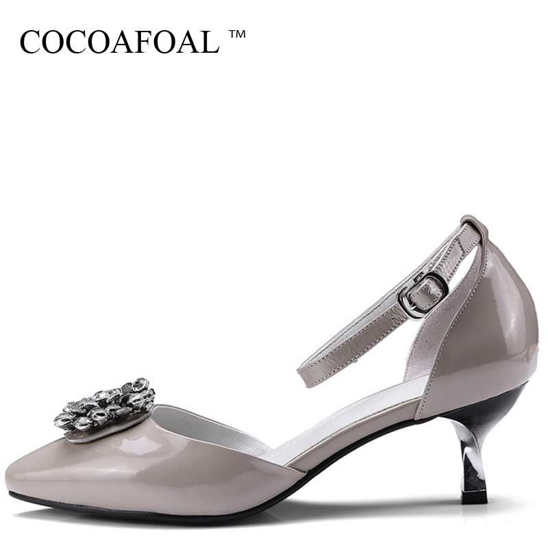 COCOAFOAL Women Rhinestone Low Heel Sandals Plus Size 33 43 Black Red Heel Height Shoes Pointed Toe Genuine Leather Sandals 2018 cocoafoal woamn patent leather sandals fashion heel height black white wedding shoes sexy genuine leather pointed toe sandals