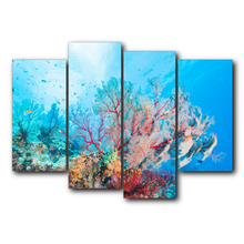 4 Panel Vintage Underwater Coral Posters and Prints Abstract Canvas Wall Artwork For Home Living Room Decoration