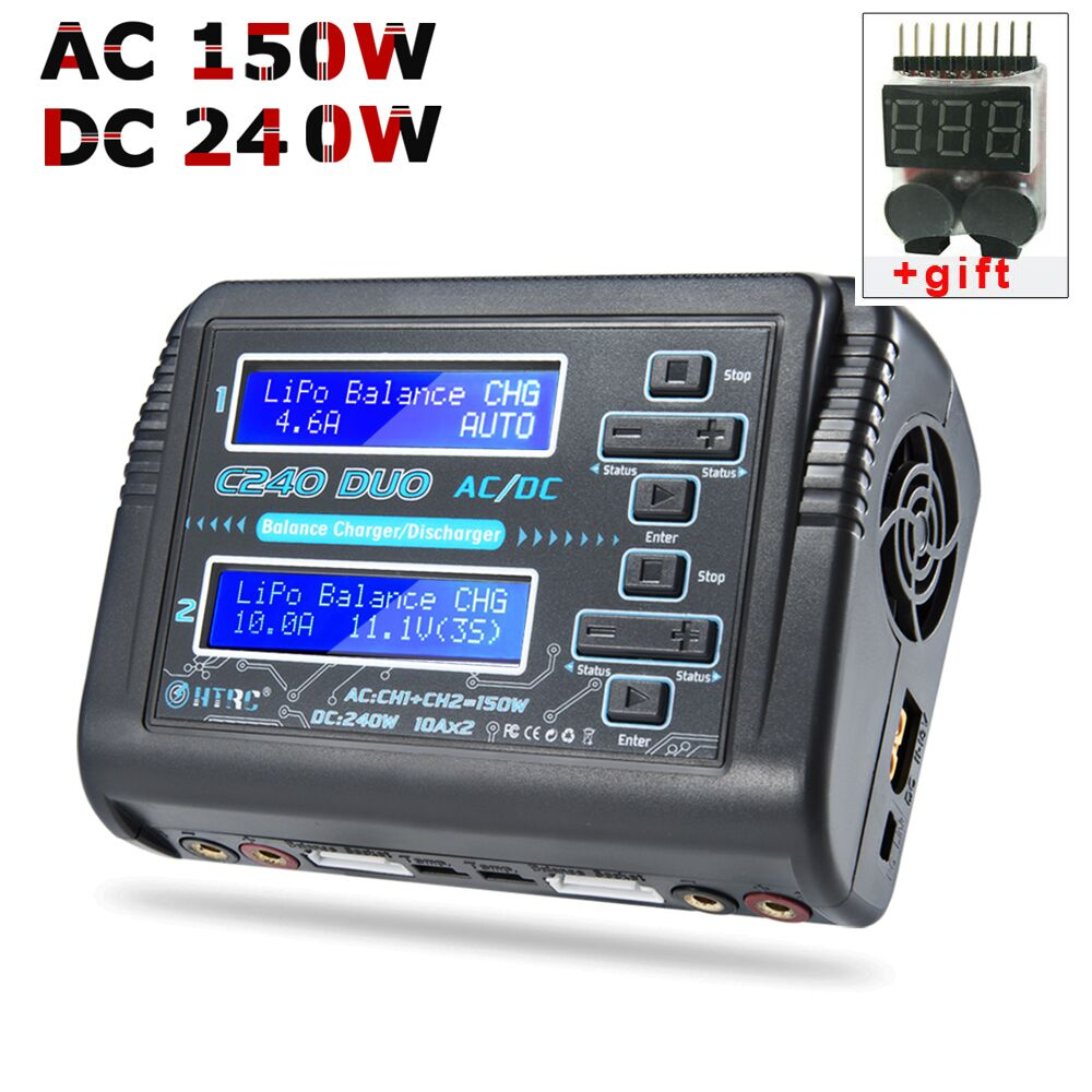 HTRC LiPo Battery Charger Dual Channel AC 150W DC 240W 10A C240 1-6S for Li-ion LiFe NiCd NiMH LiHV PB Smart Battery Discharger