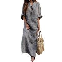 Casual Retro Striped Summer Dress Women Loose Long Sleeve V Neck Dress Front Pocket Cotton Linen