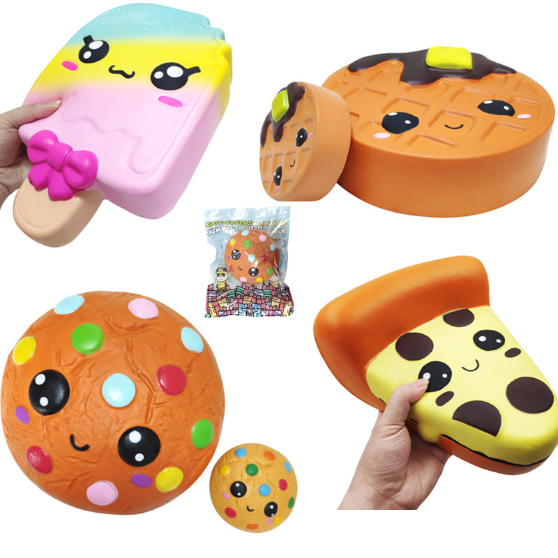 Upgrade Larger Size Giant Squishy Slow Rising  Pizza Cookies Ice Cream Waffle Cake Biscuit Soft Squeeze Toy Scented Funny Gift