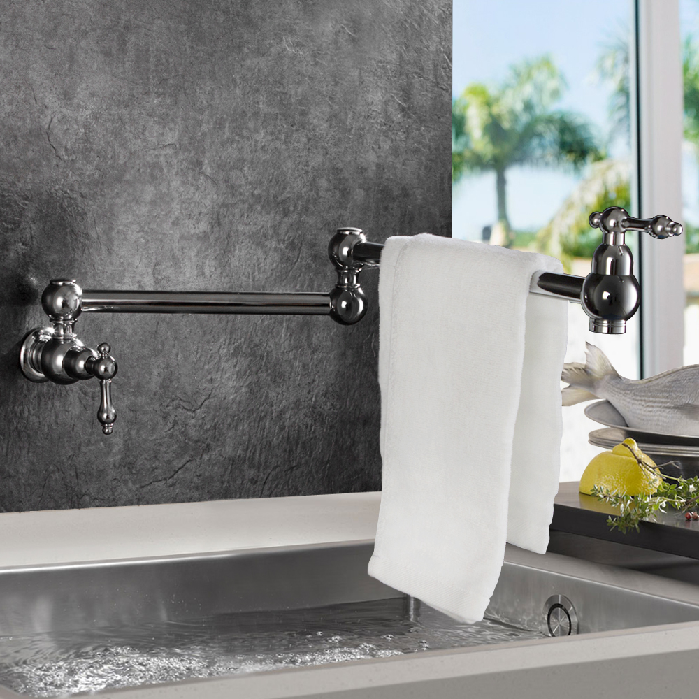 Wall Mounted Dual Handle Kitchen Faucet One Hole Cold Water Rotate with Folding Washing Tap
