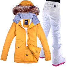 Winter Ski suit Women Brands 2019 High Quality Ski Jacket And Pants Snow Warm Waterproof Windproof Skiing And Snowboarding Suits cheap Gsou Snow Polyester Microfiber COTTON Hooded Fits true to size take your normal size 18121-LEY Jackets Anti-Wrinkle Breathable