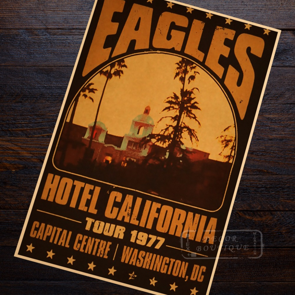 the eagles rock band at the hotel california vintage retro decorative retro kraft poster wall. Black Bedroom Furniture Sets. Home Design Ideas