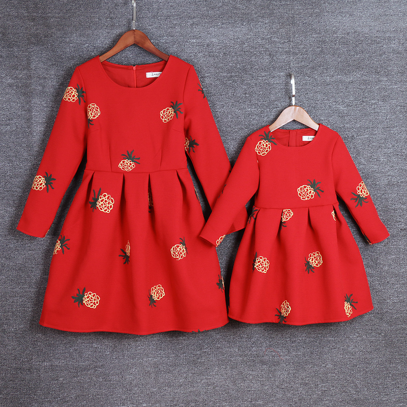 kids Clothing mom baby girls pineapple long sleeves pleated dress Mother and Daughter party Dresses Family look Matching outfits