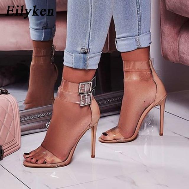 0bdc38a8d5459 Eilyken 2019 Fashion Apricot Black Women PVC high heels Party shoes  Transparent Strappy Sandal Open toe