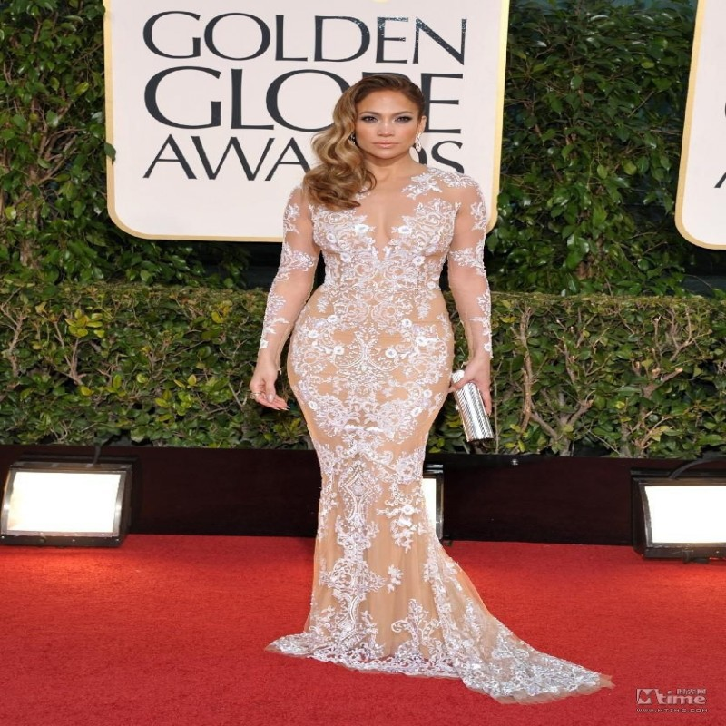 Fashion 2016 Embroidered Mermaid Celebrity Dresses 2017 Red Carpet Jennifer Lopez Y Lace Sheer Long Sleeve Vestido De Festa In Inspired