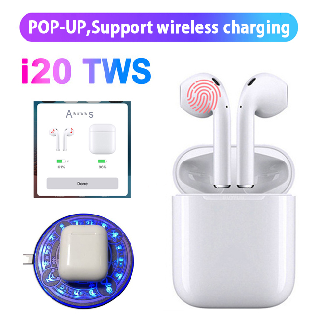 i20 TWS Pop up+Touch function+wrieless charging 14.2 horn i20 tws headset Bluetooth 5.0 3D bass earphone i10 i18 i12 i13(China)