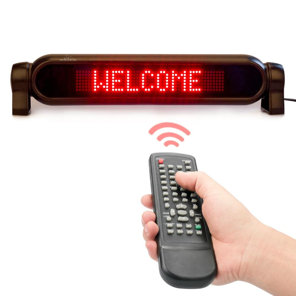Dc12v Led Car Rear Window Sign Board Scrolling Red Message Display Board Led Banner With Remote Controller And Cigar Lighter