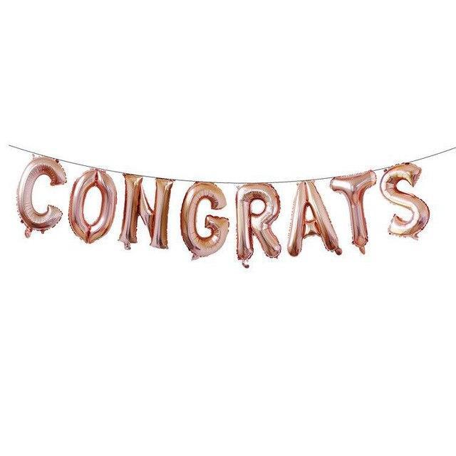 8pcs 16 Inch Letter Aluminum Foil Balloon CONGRATS Letter - celebration letter
