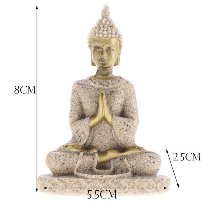 MagiDeal The Hue Sandstone Meditation Buddha Statue Sculpture Handmade Figurine Meditation Miniatures Ornament Statue Home D#3 3