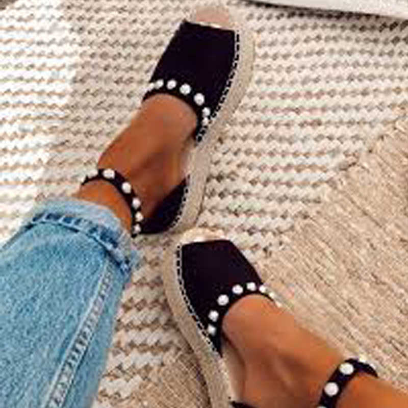 2019 Summer Sweet Pearl Platform Wedges Sandals For Women Comfort Fish Mouth Weave Female Causal High Heels Open Toe Chaussures