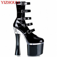 New Arrived Cool Women Up Ankle Boots Faux Leather Pumps Studded Buckle Thick High Heel Shoes