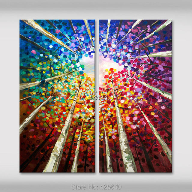 Good 2 Piece Hand Painted Palette Knife White Tree Oil Painting Wall Art Canvas  Picture Modern Abstract