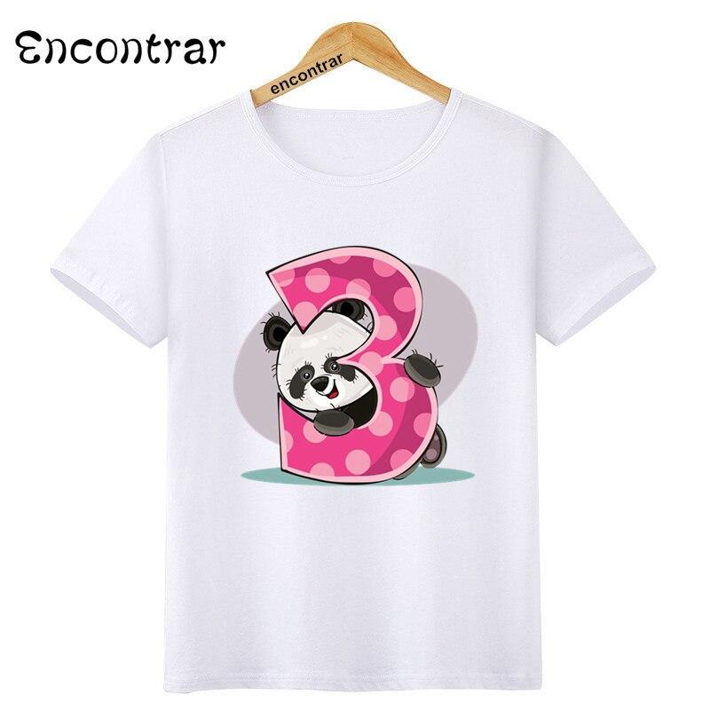 Kinder Panda Anzahl Drucken Geburtstag Oansatz T Hemd Tees Sommer Tier Tops Kinder T-Shirt Junge/Mädchen Kleidung, HKP3085